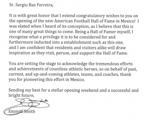Emmitt Smith letter