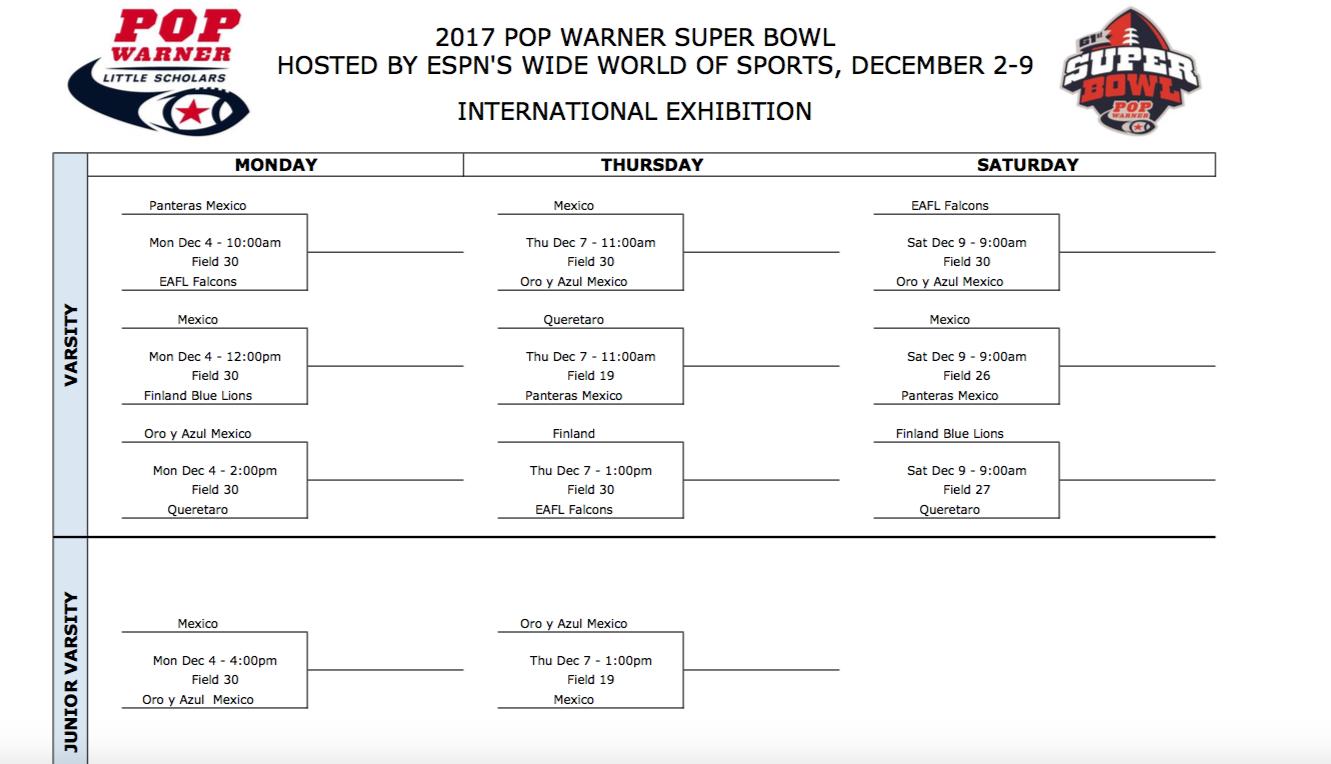 2017 Pop Warner Suoer Bowl International Bracket